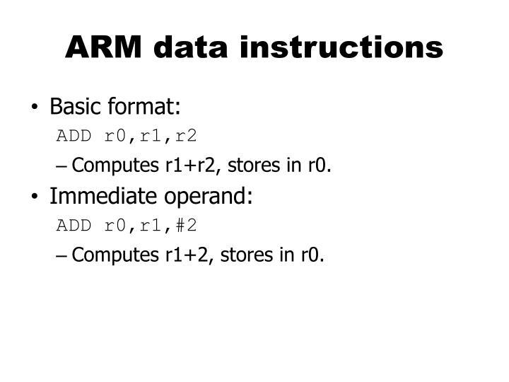 ARM data instructions