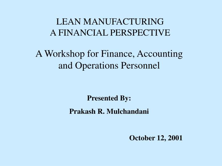 lean manufacturing a financial perspective n.