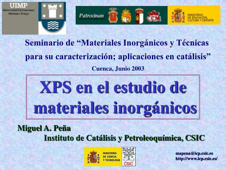 """Seminario de """"Materiales Inorgánicos y Técnicas"""
