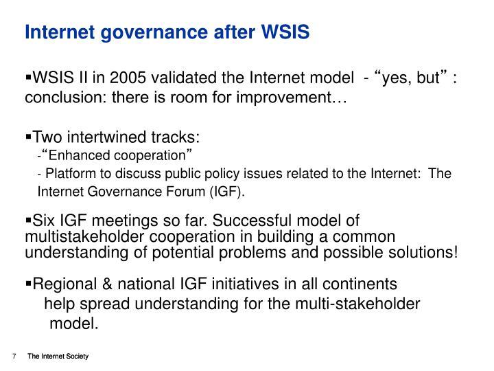 Internet governance after WSIS