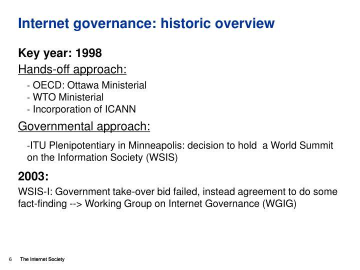 Internet governance: historic overview