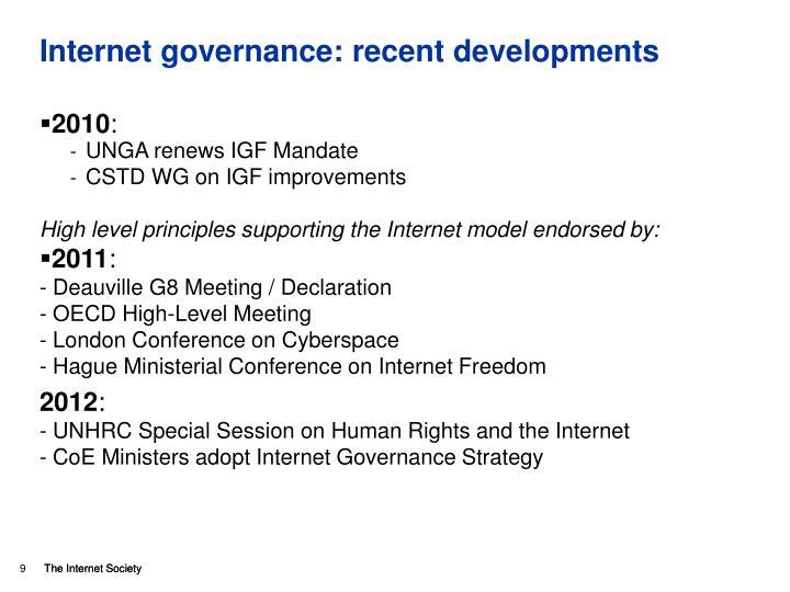 Internet governance: recent developments