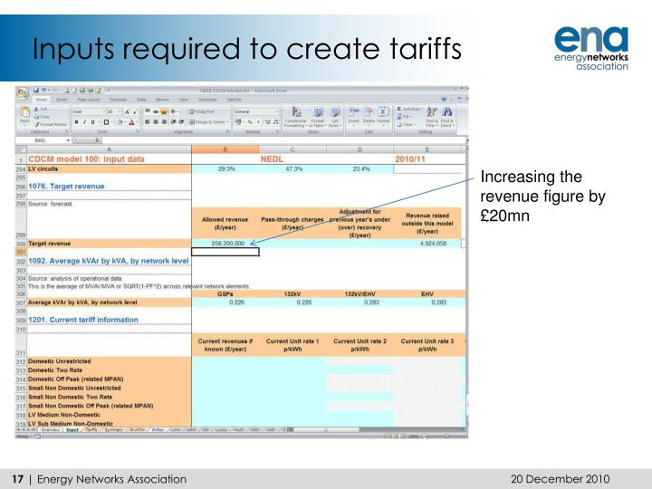Inputs required to create tariffs