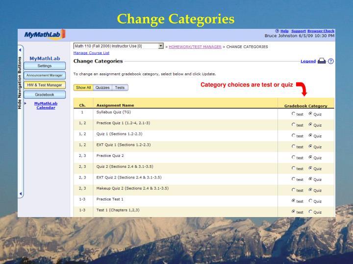 Change Categories