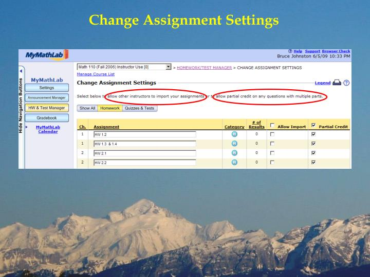 Change Assignment Settings