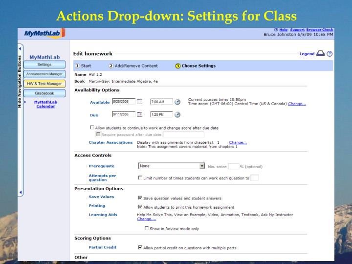 Actions Drop-down: Settings for Class