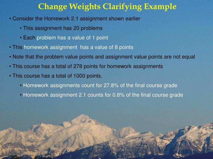 Change Weights Clarifying Example