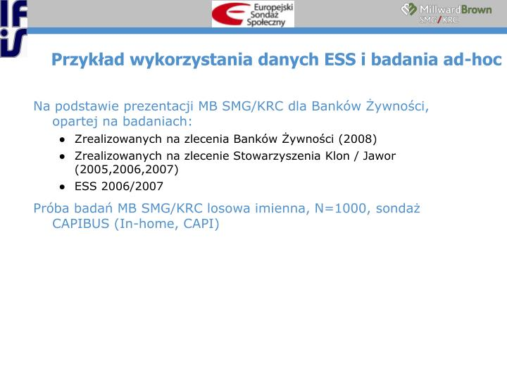 Przykład wykorzystania danych ESS i badania ad-hoc