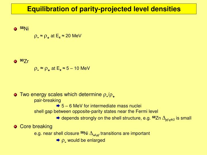 Equilibration of parity-projected level densities