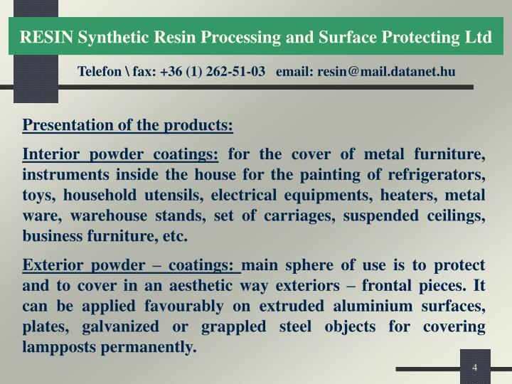 RESIN Synthetic Resin Processing and Surface Protecting Ltd