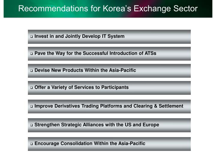 Recommendations for Korea's Exchange Sector