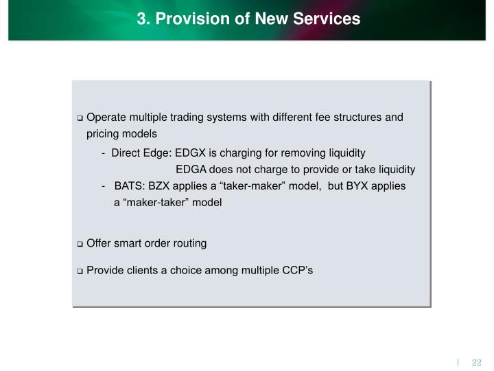 3. Provision of New Services
