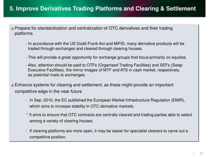 5. Improve Derivatives Trading Platforms and Clearing & Settlement