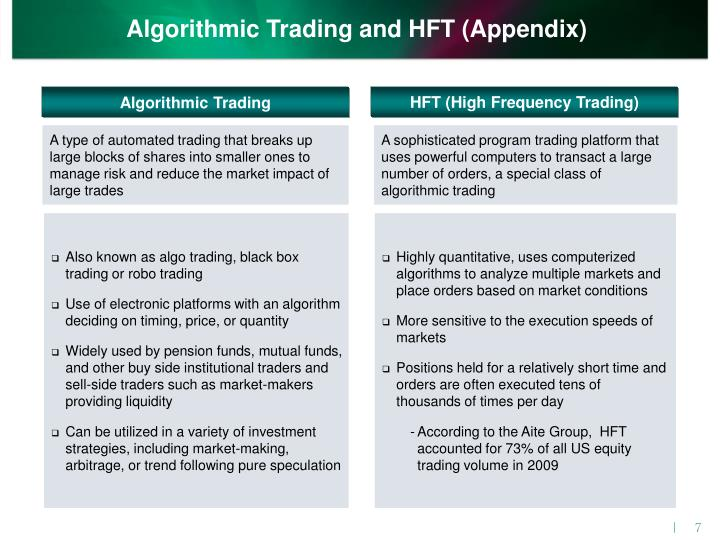 Algorithmic Trading and HFT (Appendix)