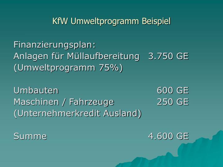 KfW Umweltprogramm Beispiel