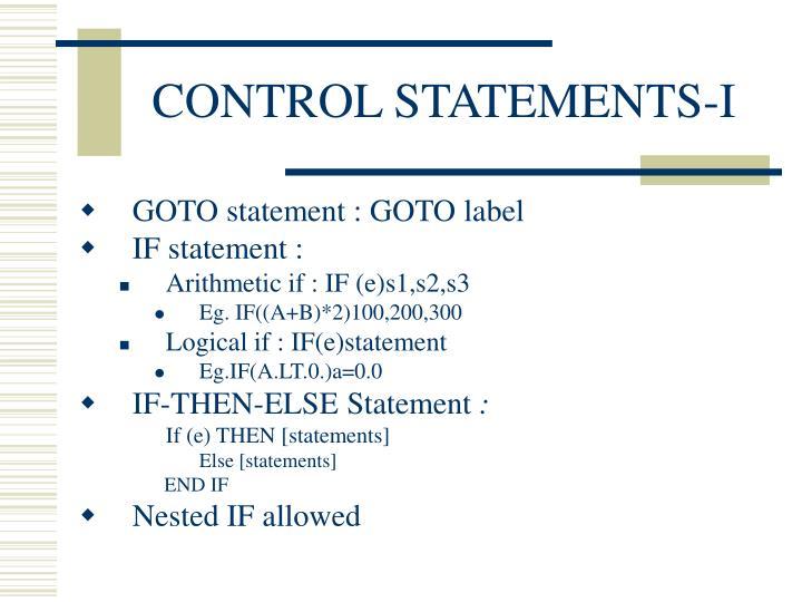 CONTROL STATEMENTS-I