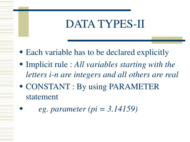 DATA TYPES-II