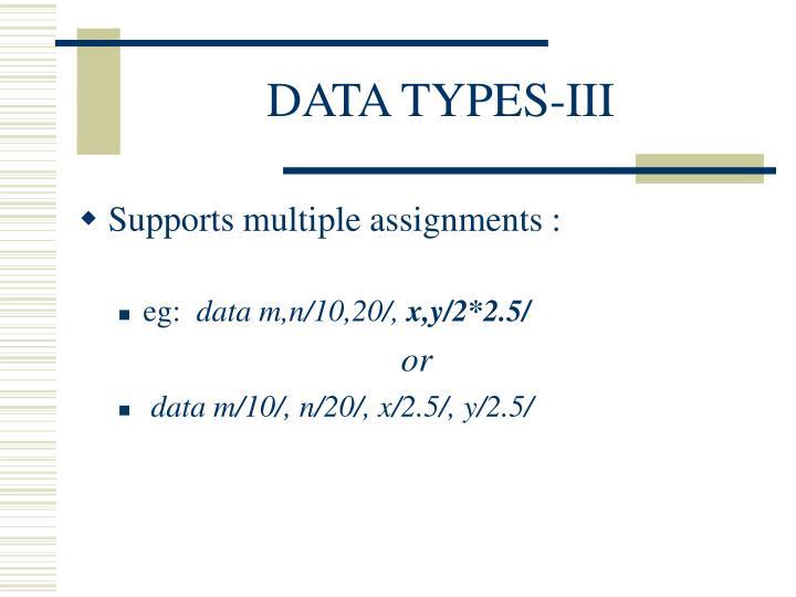 DATA TYPES-III