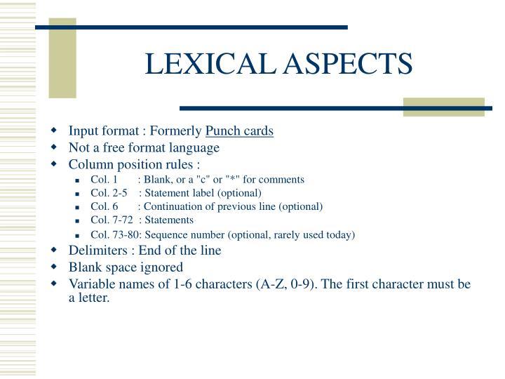 LEXICAL ASPECTS