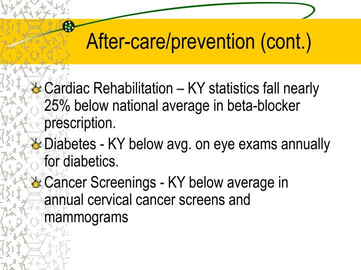 After-care/prevention (cont.)