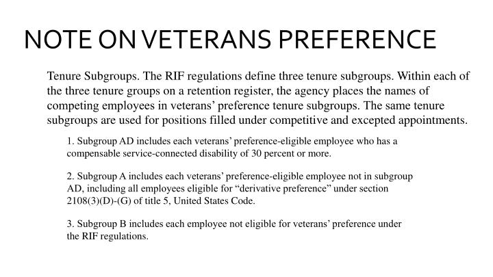 NOTE ON VETERANS PREFERENCE