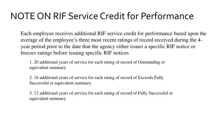 NOTE ON RIF Service Credit for Performance