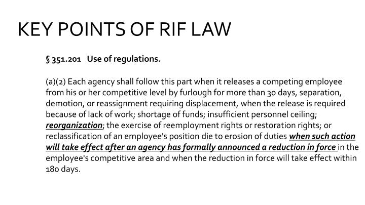 KEY POINTS OF RIF LAW