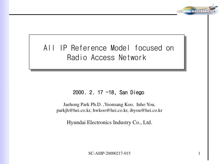 All IP Reference Model focused on Radio Access Network