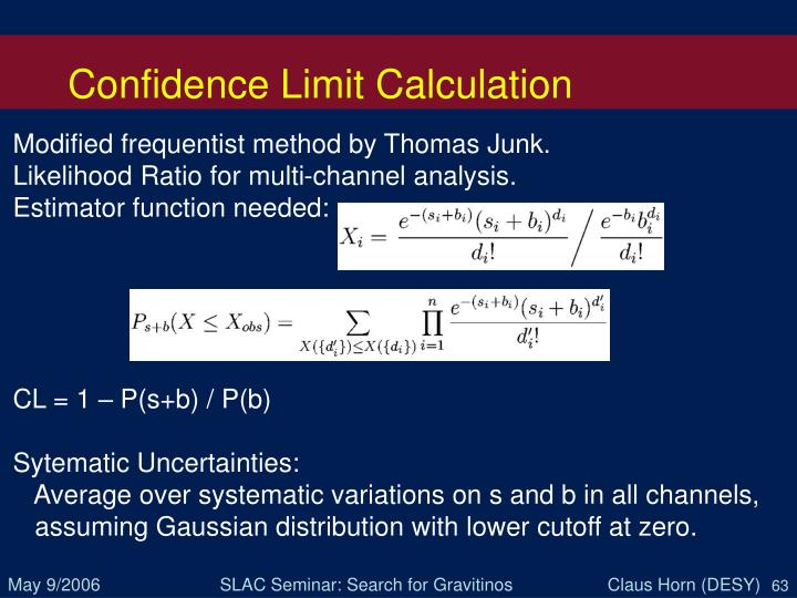 Confidence Limit Calculation