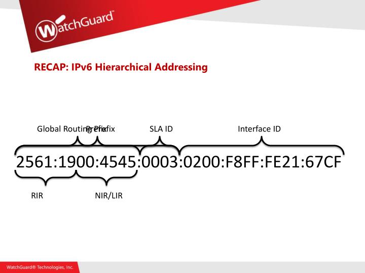 RECAP: IPv6 Hierarchical Addressing