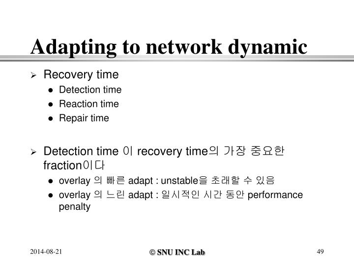 Adapting to network dynamic