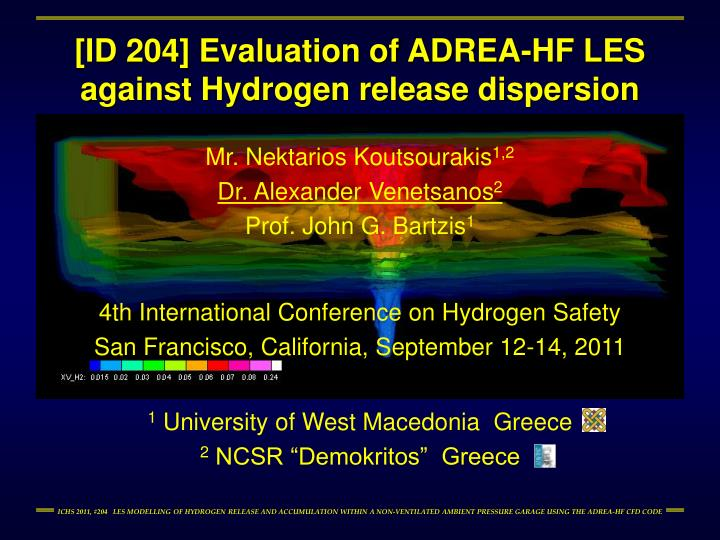 id 204 evaluation of adrea hf les against hydrogen release dispersion