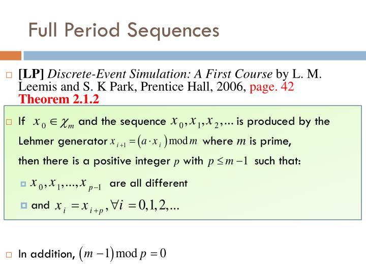 Full Period Sequences