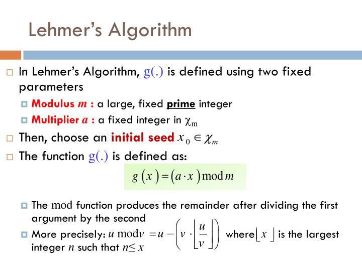 Lehmer's Algorithm