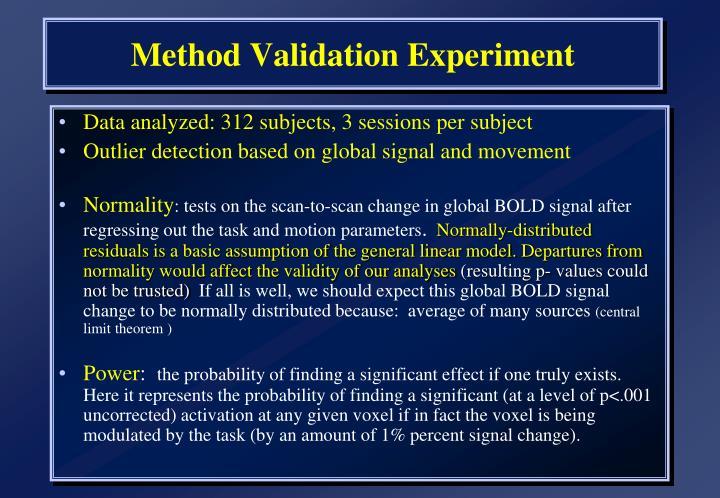 Method Validation Experiment
