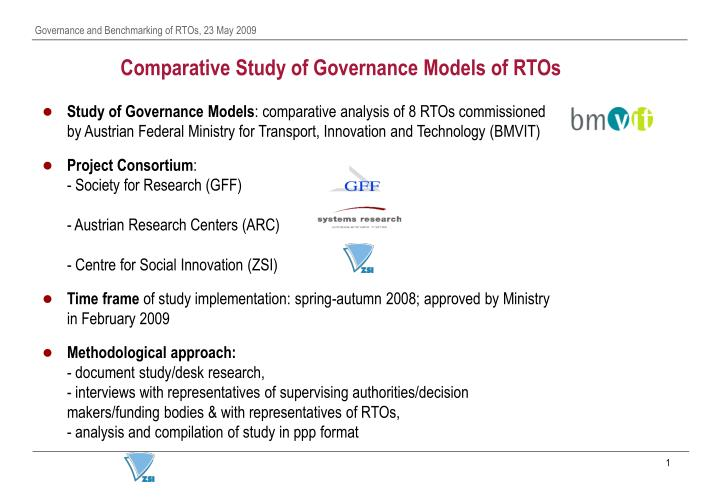 Comparative Study of Governance Models of RTOs