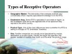 types of receptive operators