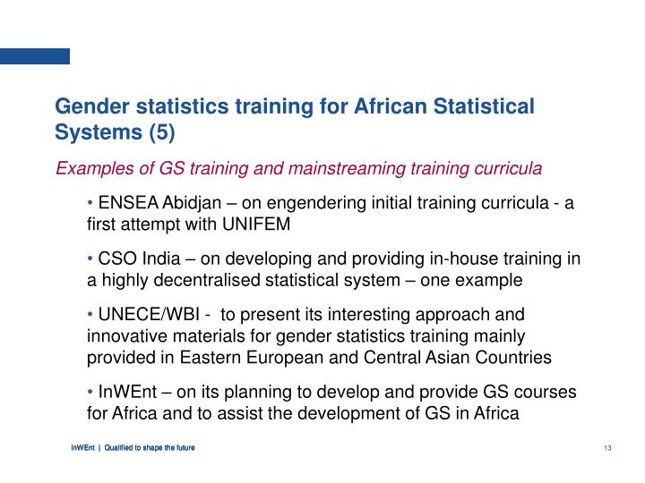 Gender statistics training for African Statistical Systems (5)