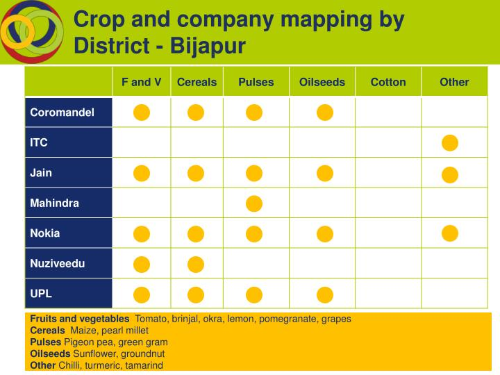 Crop and company mapping by District - Bijapur