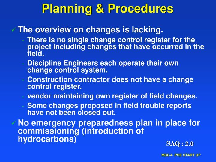 Planning & Procedures