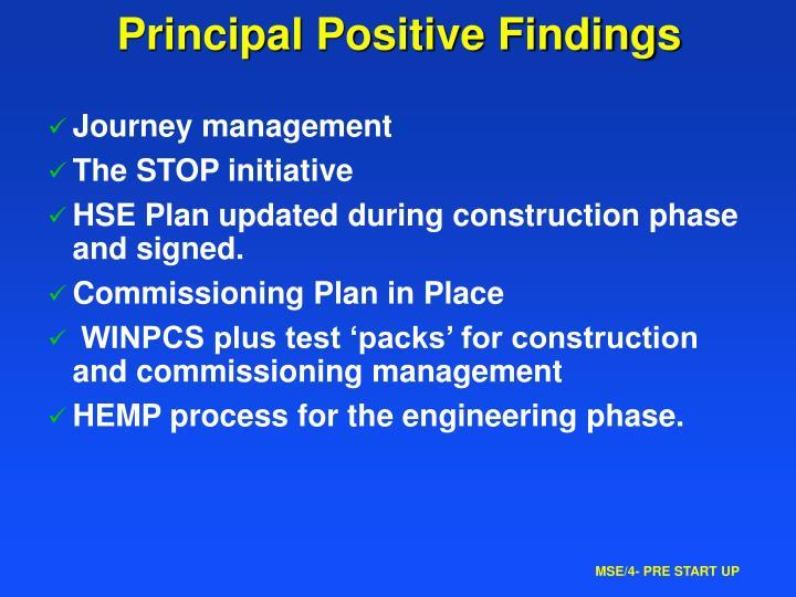 Principal Positive Findings