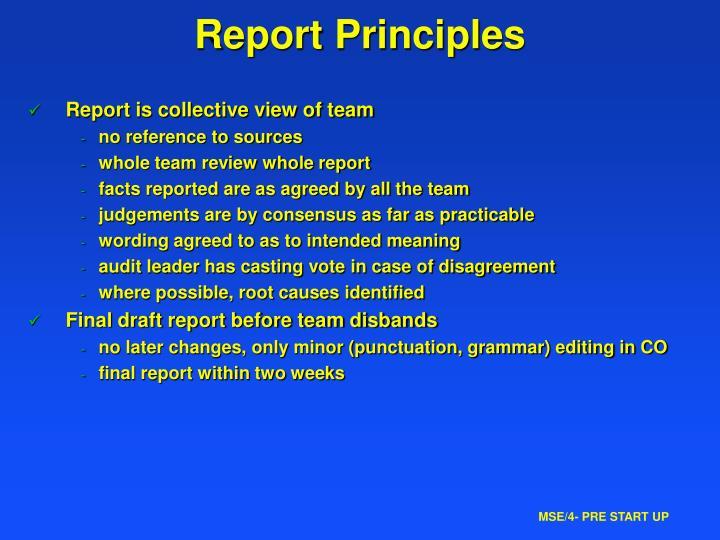 Report Principles
