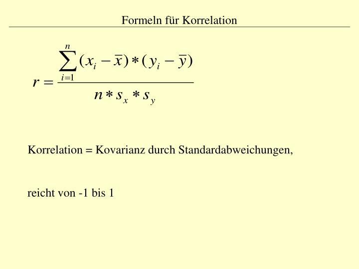 Formeln für Korrelation