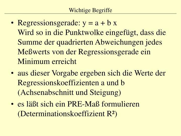 Regressionsgerade: y = a + b x