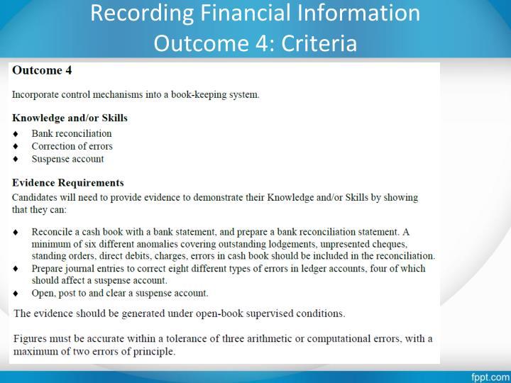 Recording Financial Information