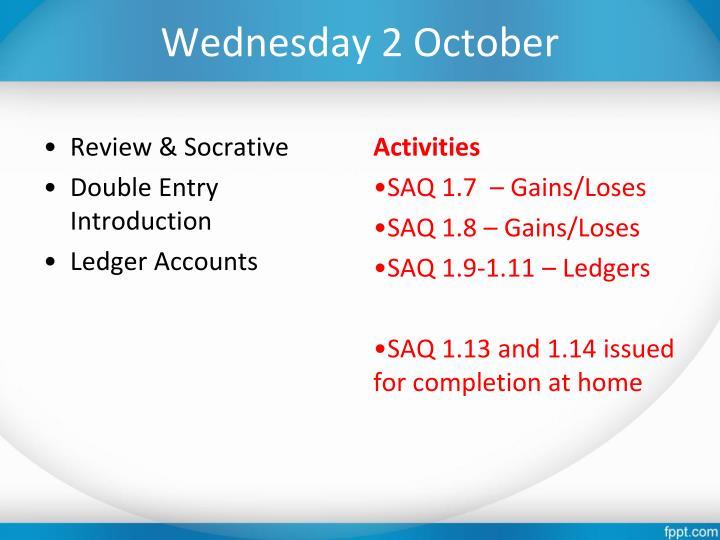 Wednesday 2 October