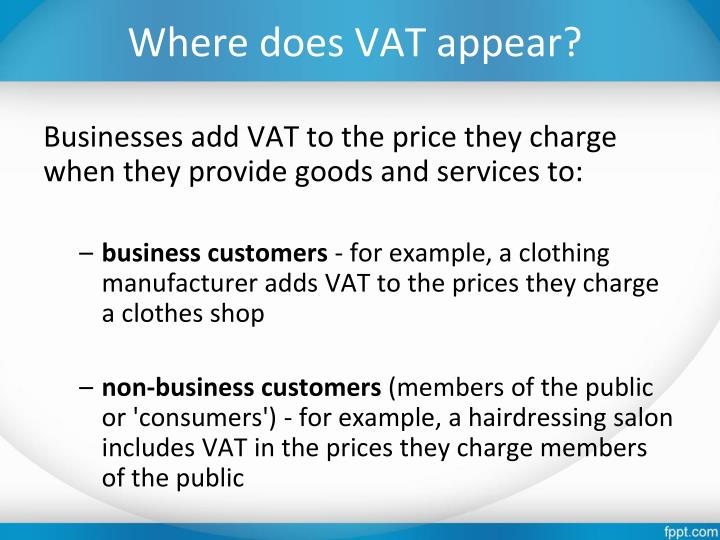 Where does VAT appear?