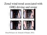 zonal wind trend associated with ghg driving and ozone