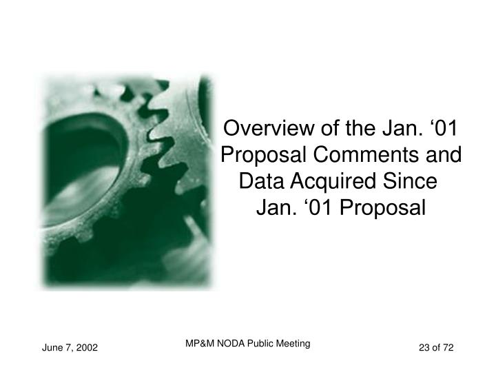 Overview of the Jan. '01