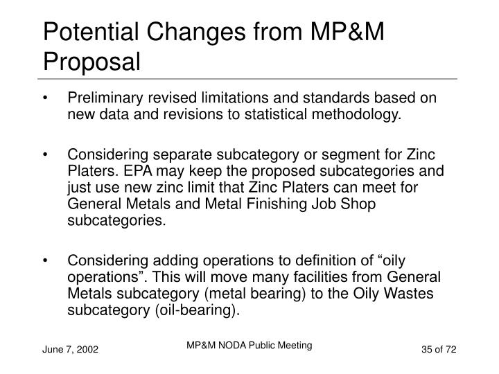 Potential Changes from MP&M Proposal